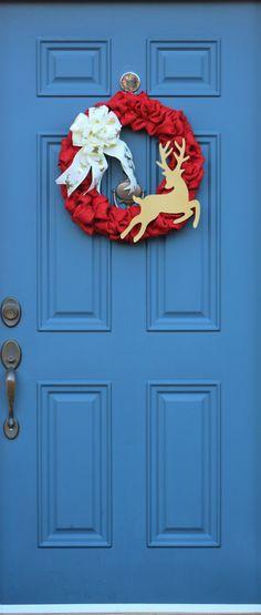 Rustic Reindeer Wreath , Reindeer Christmas Wreath , Burlap Xmas Wreath , Primitive Wreath , Red Ivory Gold Wreath , Front Door Decor by WreathObsessed on Etsy