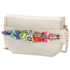 Revealing beige gemstone decorated simple design PVC Messenger bags  www.asujewelry.com