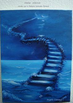 Atelier de Arte Julainne: Escada -  pintura monocromática sobre tela