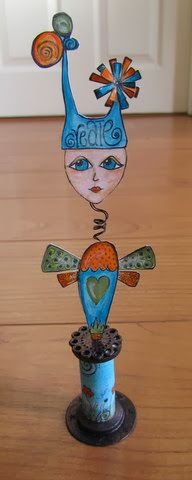 PaperArtsy: Welcome New GD: Clare Lloyd #1 Altered Wooden Spool