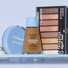 Just a few of our COVERGIRL faves! ✔️#CleanMatte Liquid #Foundation ✔️#CleanMatte #PressedPowder ✔️#TruNaked Desert Heat #Eyeshadow Palette Get them now at @walmart. #EasyBreezyBeautiful #COVERGIRLCrueltyFree #CrueltyFree Covergirl, Foundation, Eyes Lips Face, Shelfie, Makeup Tools, Eye Makeup, Eyeshadow, Lipstick, Cleaning