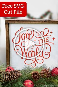 Free 'Joy to the World' Christmas Holiday SVG Cut File for Silhouette Portrait or Cameo and Cricut Explore or Maker - cuttingforbusines. Merry Christmas, Christmas Vinyl, Vintage Christmas, Christmas Holidays, Christmas Crafts, Christmas Decorations, Christmas Ideas, Scandinavian Christmas, Xmas