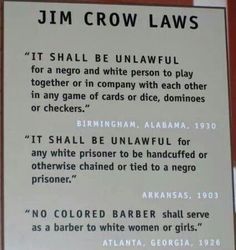 Black History Fact -Jim Crow Laws