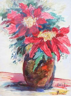 Tis the season! Poinsettias in a Brown Vase, is a signed, 24x18 inch, watercolor on watercolor paper by the late Avonelle Kelsey (1931-2009).