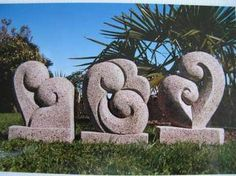 Trio of stone sculptures...Soft stone sculptures based around the Koru. From left= Friends, the Ocean, Lovers.
