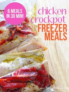 Six Chicken Crockpot Freezer Meals in 30 Minutes