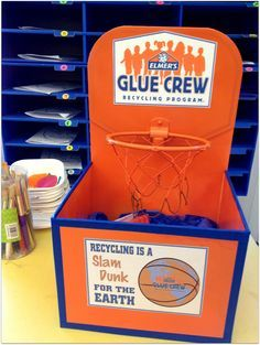 *Rook No. 17: recipes, crafts & creative nesting*: Basketball-style Recycling Bin Elmer's Glue Crew ~ Be Creative, Support Education & Recycle too!