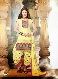 Patiala Yellow unstitched suit with dupatta