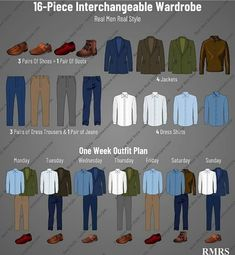 256 outfits from just 16 pieces of clothing. A new outfit every day for 8 months? It is possible IF you focus on interchangeabilityin your wardrobe. See the image ☝️ – 16 items that work with each other can yield 256 outfits! Mens Office Fashion, Suit Fashion, Mens Fashion, Fashion Outfits, Mens Wardrobe Essentials, Men's Wardrobe, Capsule Wardrobe Men, Stylish Mens Outfits, Business Casual Outfits