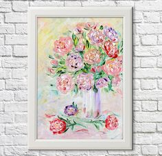 Peony miracle  Original Oil Painting on canvas palette knife