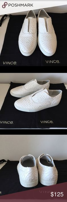 VINCE NELSON OPTIC WHITE PYTHON-EMBOSSED SKATE VINCE NELSON OPTIC WHITE PYTHON-EMBOSSED SKATE SNEAKERS, SLIP ON, SIZE EUR 38, US 7.5, BRAND NEW WITHOUT BOX Vince Shoes Sneakers