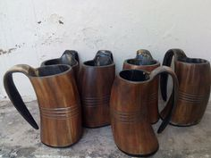 Set of Six Viking series Horn Game of Throne Medieval Viking Drinking Cup Mug Plain Rustic design for beer mead pagan gift prop Vikings Halloween, Halloween 2018, Viking Drinking Horn, Viking Horn, Nordic Kitchen, Margarita Glasses, Beer Keg, Game Props, Rustic Design