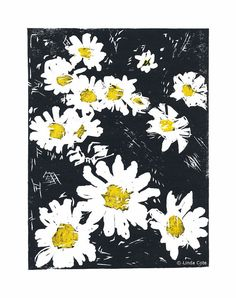 Daisy Faces 2 Color Linocut Relief Print Flowers Hand Pulled Fine Art Limited Edition Printmaking Original