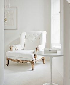 White & Gold Combo Chair