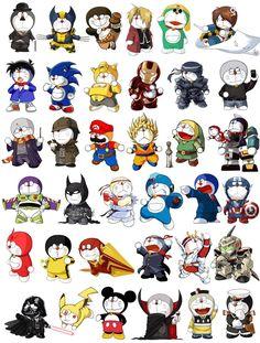 The Many Faces of Doraemon Doraemon, Geek Games, Kung Fu Panda, Son Goku, Nerd Geek, Bruce Lee, Wolverine, Captain America, Manga Anime