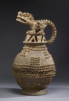 Crocodile Effigy Incense Burner  Costa Rican (Potosí Appliqué) (Artist)    AD 500-1350 (Period V?VI)  earthenware, traces of white ground  (Sculpture)