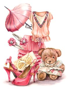 Sewing Clipart, Everything Pink, Shoe Art, Mannequins, Vintage Flowers, Fashion Sketches, Vintage Prints, Art Pictures, Fashion Art