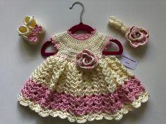 Baby Girl Crochet, Crochet Baby Clothes, White Baby Dress, Baby Girl Gift Sets, Baby Girl Dresses, Baby Headbands, Baby Knitting, Pink, White Beige