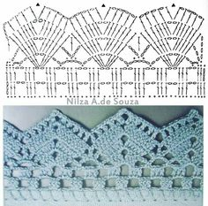 If you looking for a great border for either your crochet or knitting project, check this interesting pattern out. When you see the tutorial you will see that you will use both the knitting needle and crochet hook to work on the the wavy border. Crochet Boarders, Crochet Edging Patterns, Crochet Lace Edging, Crochet Motifs, Crochet Diagram, Crochet Chart, Filet Crochet, Crochet Designs, Knitting Patterns