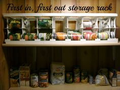 Can (Canned) Food Storage Rack - Best Kitchen Pantry Storage Ideas and Solutions Storage is always at a premium in any home; here are some great ideas for canned food storage in kitchens and pantries. Ikea Toy Storage, Dorm Storage, Can Storage, Home Office Storage, Storage Rack, Storage Ideas, Shelving Ideas, Smart Storage, Storage Solutions