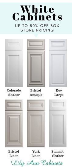 Lily Ann Cabinets offers a premium selection of white kitchen and bathroom cabinets for up to 50% off box store pricing. Constructed with solid wood and durable dovetail assembly, our white cabinets are the highest quality for the lowest cost. Visit our website today for FREE samples + a FREE 3D kitchen design!.......................... antique \ backsplash \ DIY \ painted \ hardware \ laundry room \ modern \ rustic \ farmhouse \ dark countertops \ grey floor \ bedroom \ gray island \ with…