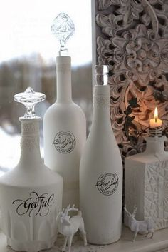 DIY with wine and liquor bottles.don't know if these would turn out as cute if I did them. I love the perfume bottle look. Just add a decorative bottle stopper. Wine Bottle Art, Painted Wine Bottles, Diy Bottle, Wine Bottle Crafts, Decorated Bottles, Wine And Liquor, Liquor Bottles, Bottles And Jars, Perfume Bottles