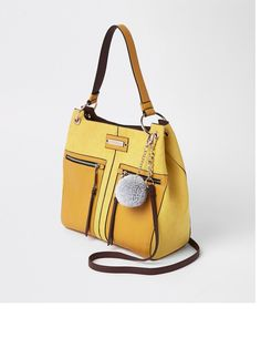 River Island River Island Pocket Front Slouch Bag - Yellow    littlewoodsireland.ie 46949b2f61