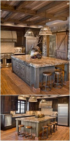 Next Post Previous Post 27 Cabinets for the Rustic Kitchen of Your Dreams Sierra Escape Rustic Wood & Stone Kitchen. Rustic Kitchen Cabinets, Rustic Kitchen Design, Rustic Design, Kitchen Wood, Wood Cabinets, Kitchen Designs, Kitchen Countertops, Primitive Kitchen, Brown Cabinets