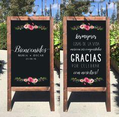 Welcome Wedding Sign - Bienvenidos A Nuestra Boda Pizarron Letrero Para Bodas Gracias Spanish Rustic Wedding Chalkboard Sandwich Board - Heart And Hand