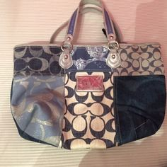Coach tote!! Adorable and great for travel!! Patchwork blue and silver coach tote!! Coach Bags Totes