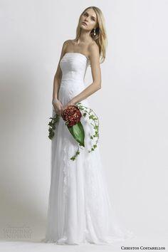 costarellos bridal 2014 strapless wedding dress silk tulle chantilly lace