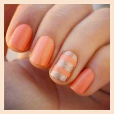Peach and silver #nails #nailart