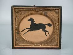19th Century Folky Silhouette Horse Drawing Equestrian American Folk Art VR