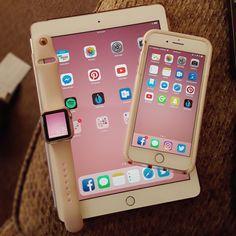 iPhone, iPad, Apple Watch, iPhone 7 Plus, iPad 2017, rose gold, gold, pink, wallpaper, Apple, tech, gadgets