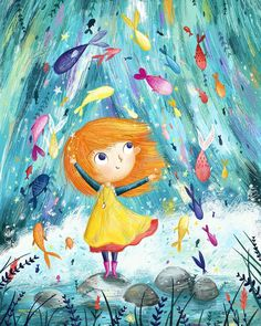 She loved to play with the fishes in the waterfall 🐟 🐠 ⭐️ Cartoon Kunst, Cartoon Art, Art And Illustration, Pretty Art, Cute Art, Little Girl Illustrations, Whimsical Art, Cute Drawings, Artwork