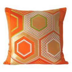 Orange Silk Satin Hexagon Cushion W40 x D40 cm