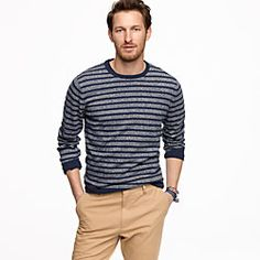 Marled navy-stripe sweater