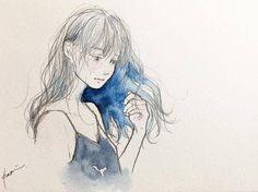 night #art #artwork #watercolor #drawing #illustration #girl #blue #longhair #イラスト #水彩