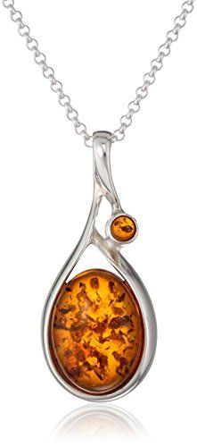 """Sterling Silver Honey Amber Drop Pendant Necklace , 18"""" * To view further, visit http://www.amazon.com/gp/product/B002IKM95O/?tag=jewelry3638-20&pde=260716131613"""