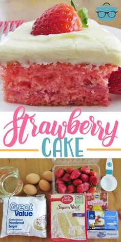 This Easy Fresh Strawberry Cake starts with a boxed cake mix, strawberry jell-o,. This Easy Fresh Strawberry Cake starts with a boxed cake mix, strawberry jell-o, fresh strawberries and is topped with cream cheese frosting! Fresh Strawberry Cake, Strawberry Cake Recipes, Strawberry Frosting, Recipes With Strawberries, Strawberry Cake From Scratch, Strawberry Birthday Cake, Homemade Strawberry Cake, Strawberry Shortcake Cupcake, Strawberry Brownies