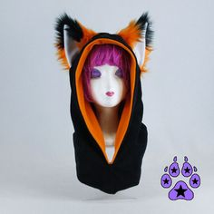 Pawstar FOX YIP Ear COWL Hood You Pick Color Red Orange by pawstar