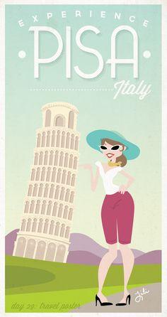 Pisa Travel Poster
