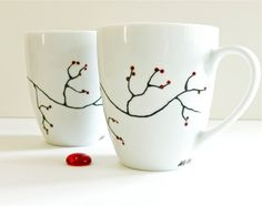 Winter Berry Coffee Mugs set of 2 Hand Painted by TalyGlassIsland,