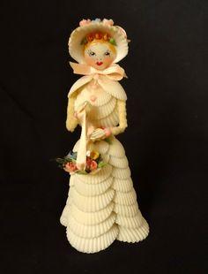 "unusual shell art female figure - doll made of sea shells - marked ""Layton"""