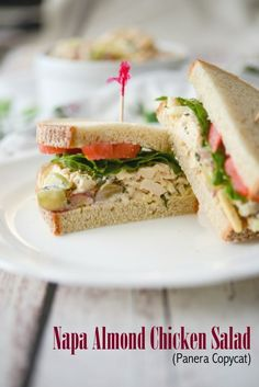 This Panera Bread copycat recipe for Napa Almond Chicken Salad made with tender white meat chicken, silvered almonds and grapes in a honey lemon herb mayonnaise makes a tasty sandwich for lunch or dinner. Sandwiches For Lunch, Delicious Sandwiches, Wrap Sandwiches, Sandwich Ideas, Salad Sandwich, Chicken Sandwich, Chicken Salad Recipe With Almonds, Chicken Salad Recipes, Panera Bread Chicken Salad Recipe