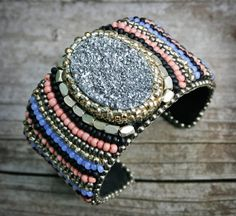 Skyler Cuff  Bead Embroidery Druzy Crystal by labellesavage, $189.99
