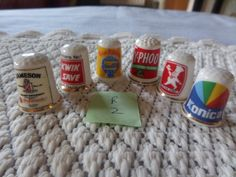 china advertising thimbles, vintage thimbles, advertising colletables, English bone china, sewing accessories, thimble collection, by MaddisonsRainbow on Etsy