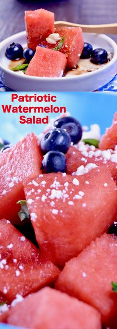 Refreshing Watermelon Salad, the perfect BBQ side dish. Ready in 15 minutes with bursts of citrus with tart feta cheese drizzles with a sticky honey balsamic glaze. via @westviamidwest (Cheese Table Dishes)