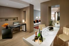 Book our Couture Suite in Paris, the perfect luxury Paris accommodation featuring a large bedroom, master bathroom, kitchenette & private dining area Paris Accommodation, Dining Area, Dining Room, Fine Hotels, Mandarin Oriental, Great Hotel, Large Bedroom, Hospitality Design, Kitchenette