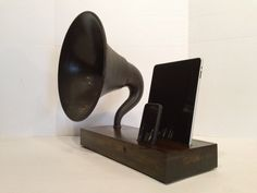 Totally dig this!! I need it.  Acoustic iPad/iPhone Speaker Dock Utilizing a Vintage Antique  Gramophone Phonograph.
